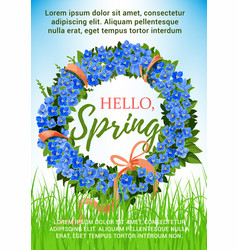 Spring poster holiday crocus flowers wreath vector