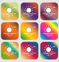 Sunset icon sign nine buttons with bright vector