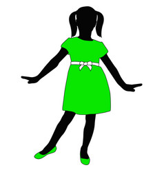 Toddler girl in green dress posing silhouette vector