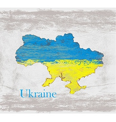Ukraine Grunge map with the flag inside vector image