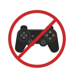 Video game console ban joystick symbol vector