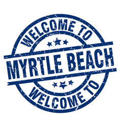 Welcome to myrtle beach blue stamp vector