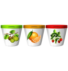 Yogurt with different flavor of fruits vector