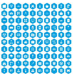 100 company icons set blue vector