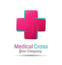 Cross plus heart medical logo icon logo design vector image