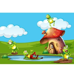 Scene with frogs in the pond vector image