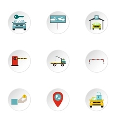 Valet parking icons set flat style vector image