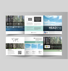 Templates for tri fold square design brochures vector