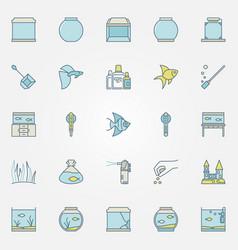 Aquarium colorful icons vector