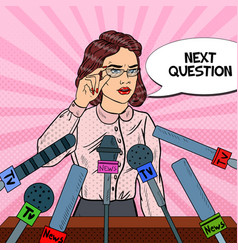 pop art business woman giving press conference vector image
