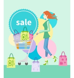 Shopping girl with trolley shopping bag with lable vector