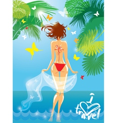 Woman in bikini swimwear at tropical beach with pa vector image