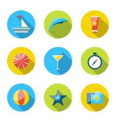 Flat modern set icons of traveling planning summer vector