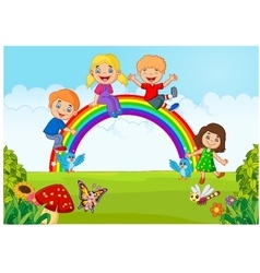 Cartoon happy kids sitting on rainbow on the fores vector