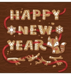 Happy new year congratulation text made of vector