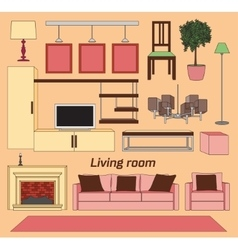 Cool graphic living room vector