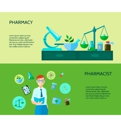 Two pharmacist banner set vector