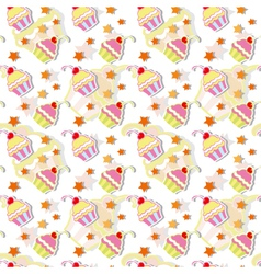Colorful Cherry Cupcakes Seamless vector image