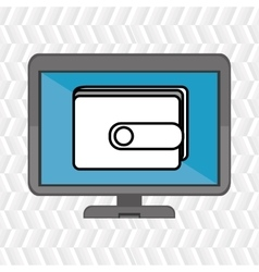 Laptop with wallet blue isolated icon design vector