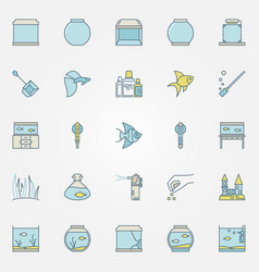 Aquarium colorful icons vector