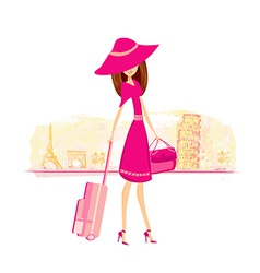 beautiful women Shopping in France and Italy vector image vector image