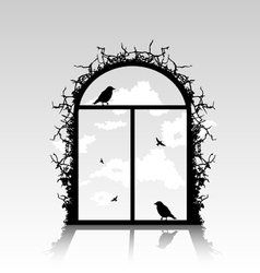 birds silhouette in the window vector image vector image