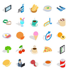 Breakfast icons set isometric style vector