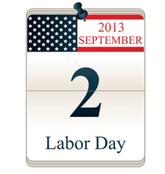 Calendar for Labor Day vector image