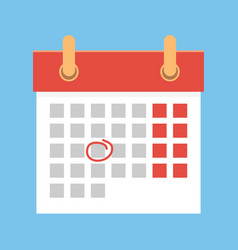 Calendar with important date flat cartoon vector