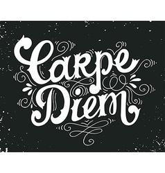 Carpe diem quote hand drawn vintage print with vector