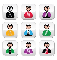 Catholic church pope buttons set vector image