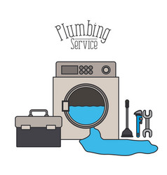 Color poster of washing machine dripping plumbing vector