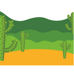 Colorful background with desert cactus and vector