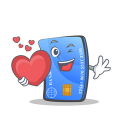 Credit card character cartoon with heart vector