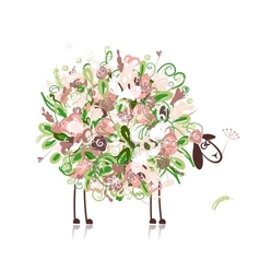 Cute sheep floral style for your design vector image vector image