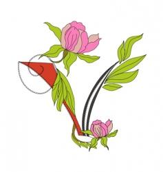 floral font 2 letter v vector image vector image