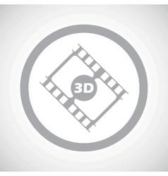 Grey 3d movie sign icon vector
