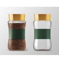 Instant coffee glass jar models vector