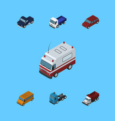 Isometric car set of truck suv first-aid and vector