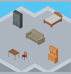 Isometric design set of sideboard chair couch vector