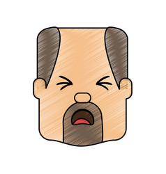 man with heart attack face cartoon vector image