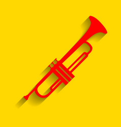 Musical instrument trumpet sign red icon vector