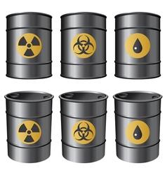 oil barrels set vector image vector image