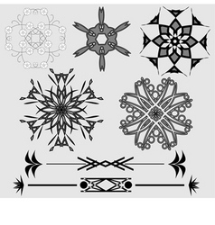 ornamental design elements black and grey vector image vector image