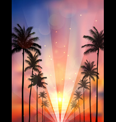 Palm trees background when sunset vector
