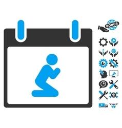 Pray person calendar day icon with bonus vector