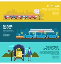 Railway design concept set with train station vector