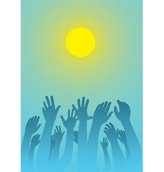 raised hands vector image vector image