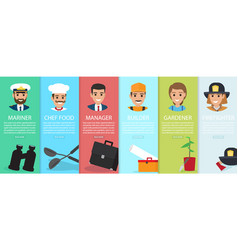 six vertical images of professions with equipment vector image