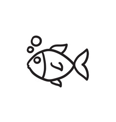 Small fish sketch icon vector